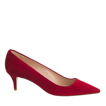 J Crew Red Suede Kitten Heel