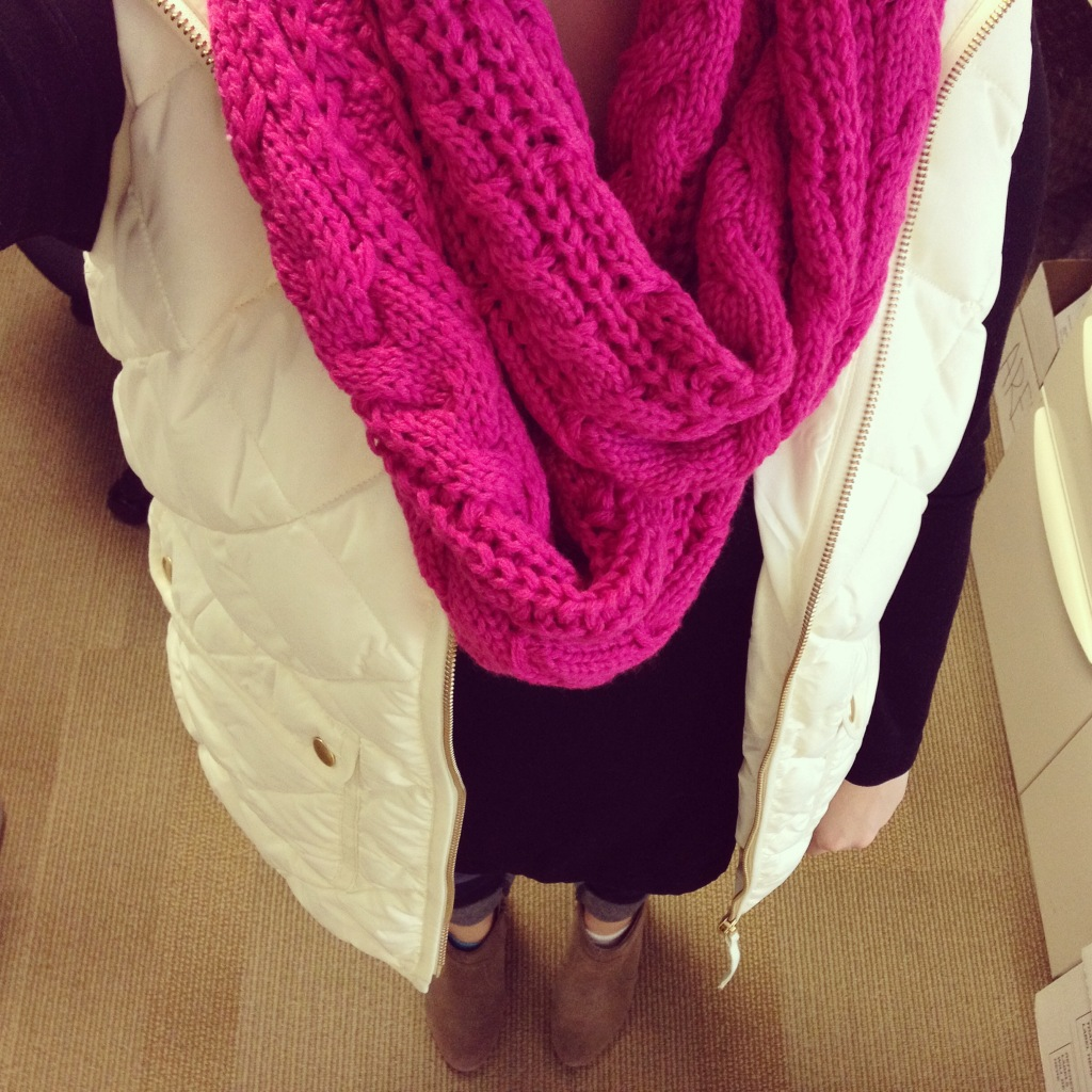 Instagram Outfit J Crew Vest and Old Navy Scarf